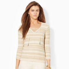 Lace-Up Cotton V-Neck Top - Lauren Jeans Co. V-Necks - RalphLauren.com