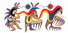 Jackson Beardy's Metamorphosis shows a thunder dancer, a human transforming to spirit animal and a thunderbird. Aboriginal art provides good medicine for hospital gallery - Winnipeg Free Press National Aboriginal Day, Group Of Seven Art, Kunst Der Aborigines, Native American Artists, Canadian Artists, Aboriginal Artists, American Indian Art, American Indians, Nativity Crafts