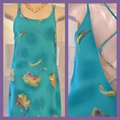 "GORGEOUS GABRIELLE Spaghetti Strap Dress Watercolor a washed with turquoise, golden beige, and purple. Fully lined and oh so pretty..,(wish it still fit..) Last photo is back of dress. This dress is approx 37"" from shoulder to hem. Armpit to armpit approx 19"". In very good condition. Gabrielle Dresses"