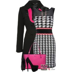 """Love This Houndstooth Dress!"" by lmm2nd on Polyvore"