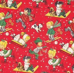 Vintage Christmas Wrap Children in Snow by hmdavid, via Flickr