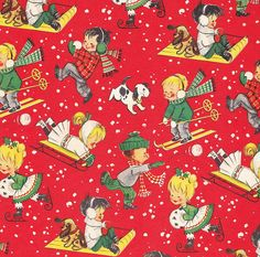 Vintage Christmas Wrap Children in Snow by hmdavid, via Flickr