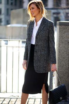 Karlie Kloss in a grey blazer + white button-up + black pencil skirt + Chanel bag