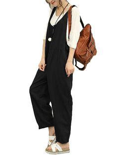 Celmia - Women s Fashion Sleeveless Cotton Linen Loose Jumpsuits -  Walmart.com ff44e50df