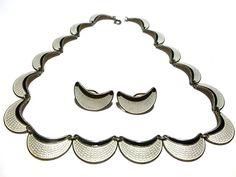 N. A. JORGENSEN NORWAY 925s STERLING SILVER ENAMEL EARRINGS NECKLACE SET LOT Silver Enamel, Necklace Set, Sterling Silver, Bracelets, Norway, Earrings, Jewelry, Design, Ear Rings