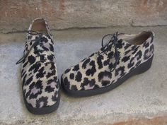 vintage shoes  leopard print creepers style size 7