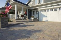 Unilock - Stonehenge paver driveway with Brussels Dimensional steps by Unilock