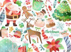 Christmas Graphics Set #christmas #christmasclipart #clipart #cutechristmas #christmascrafts #christmasart #christmasillustration #watercolorchristmas #crafts