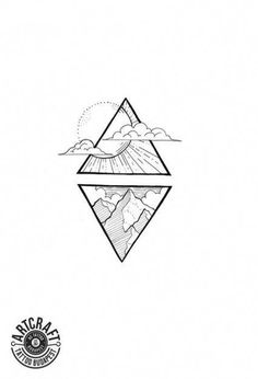 Tattoo Compass Sun Tat Ideas Best Picture For tattoo hip For Your Taste You are looking Tattoos Geometric, Geometric Tattoo Design, Geometric Drawing, Geometric Art, Geometric Sleeve, Triangle Tattoos, Cool Art Drawings, Easy Drawings, Tattoo Drawings