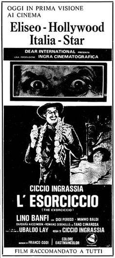 """""""L'esorciccio"""" (1975) di Ciccio Ingrassia, con Ciccio Ingrassia e Lino Banfi. Italian release: March 6, 1975 #MoviePosters"""