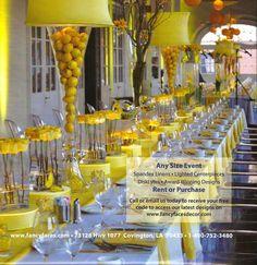 lemon yellow tablescape  Lemon Drop Party #bridal #shower   @WedFunApps wedfunapps.com ♥'d
