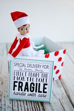 Elf On The Shelf Returns. Fun way to deliver your elf back to your family. Includes instructions for the box and the free download for the c...