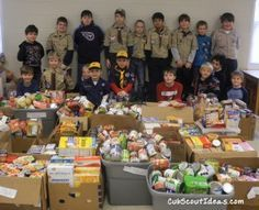 A Cub Scout food drive can help fulfill part of the requirements for the Wolf adventure, Council Fire.