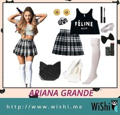"""Ariana Grande looks awesome in school outfit as well as Britney Spears did in """"Baby one more time"""". Can we wear it to school? Big YES! #Arianagrande #plaidskirt"""