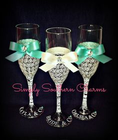 I like these but they'd be prettier with more color Wedding Glasses, Champagne Glasses, Monogram Gifts, Personalized Gifts, Handmade Wedding Gifts, Bachlorette Party, Maid Of Honor, Wedding Inspiration, Wedding Ideas