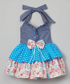 Blue Floral Denim Halter Dress - Girls