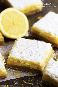 Lemon Cheesecake Bars - The most delicious and creamy lemon cheesecake bars. A buttery shortbread crust with a cheesecake and lemon layer. Dusted with powdered sugar, these are the perfect dessert! First of all, Happy Mother's Day! I am so grateful to be a mom to my three kid