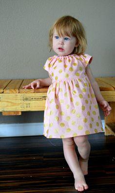 Dress gold blush pink polka dots wedding baby by redpajamas