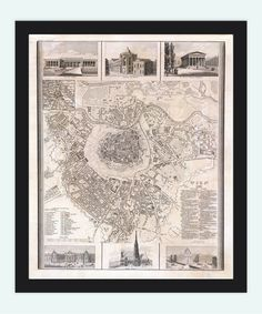 Old Map of Vienna Wien with gravures Austria 1844 by OldCityPrints, $30.00