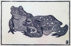 ✨  Fritz Lang, German (1877-1961) - Zwei Kröten, ca 1910.  6,2 x 9,7 cm. Signiert mit monogram 'FL' r.u. im Stock. Holzschnitt auf  dünnem Japanpapier ::: Two Toads, woodcut