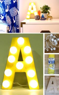 Marquee Letter with Lights   DIY Home Decorating Projects   Click for Tutorial   DIY Home Decorating on a Budget
