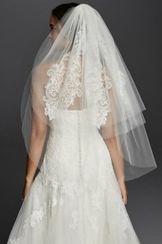 Three Tier Mid Length Bridal Veil With Lace Detail + Blusher by David's Bridal