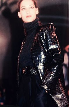 Matte collarless crocodile jacket over cashmere Charcoal turtleneck and cropped worsted pants @ Perry Ellis Fall/Winter 1986