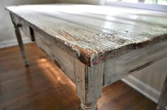 From Work Table to Work Table Rustic Office Desk, Office Desks, Rustic Farm Table, Farm Tables, Painted Furniture, Furniture Ideas, Antique Paint, Walnut Stain, Rustic Elegance