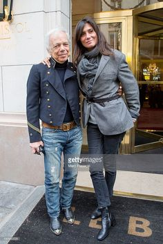 Ralph Lauren and Editor-in-Chief of 'VOGUE' FRANCE Emmanuelle Alt are seen leaving the 'Bristol' hotel on October 10, 2013 in Paris, France.