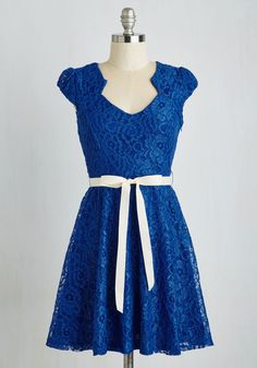 Sweet Staple Dress in Glittery Blue - Blue, Solid, Lace, Belted, Prom, Wedding, Party, Bridesmaid, Homecoming, A-line, Cap Sleeves, Variation, Short