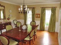 I love this green with the mahogany table. Mahogany Color, Window Treatments, My House, Building A House, Home And Family, Dining Room, Windows, Curtains, Decorating