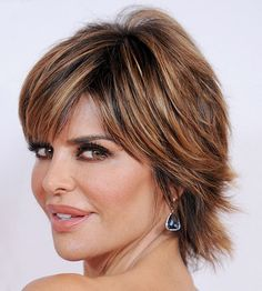 How gorgeous are Lisa Rinna's highlights? The coloring of this short shag is exquisite: http://www.bhg.com/beauty-fashion/hair/hairstyles-for-women-over-50/?socsrc=bhgpin072314shortshag&page=10