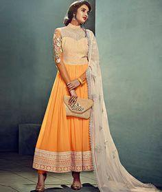 Buy Orange Chiffon Ankle Length Anarkali Suit 72696 online at lowest price from huge collection of salwar kameez at Indianclothstore.com.