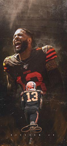Football Poses, Nfl Football Players, Football Art, Football Pictures, Odell Beckham Jr Wallpapers, Cleveland Browns Wallpaper, Browns Football, Sports Graphic Design, Lamar Jackson
