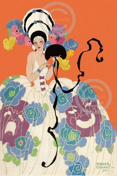 This beautiful art print is of very rare and whimsical Homer Conant Beauty. She was on the cover of a Theatre Arts Association magazine from
