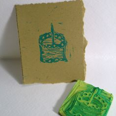 Birthday cake stamp carved from an eraser for Day 26 of #30DoC