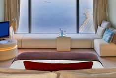 Wonderful Room, Hotel W, Barcelona W Hotel Barcelona, Hotel W, Ricardo Bofill, Unusual Hotels, Famous Architects, Hotel Interiors, Floor To Ceiling Windows, Beautiful Hotels, Spain Travel