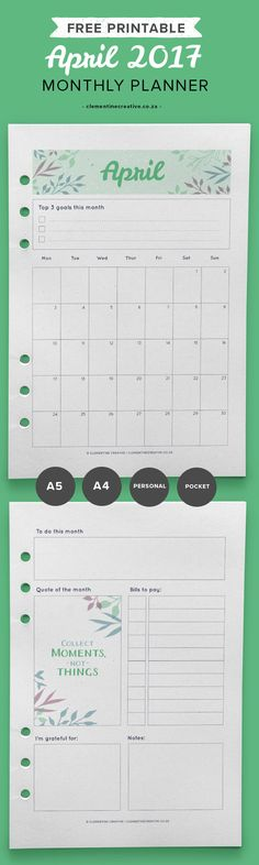 Get organised with this April 2017 monthly planner. It includes a calendar and a separate page to help you remember this month's tasks. Get it for free in your inbox every month!