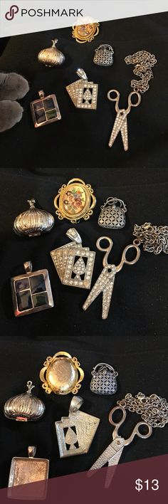 Lot of Vintage Pendants. Scissors have chain attached.  Purse looks like it would open - but it doesn't.  Flowers locket and And garlic open. Garlic has ART stamped inside. No other markings on any of the jewelry. Vintage Jewelry