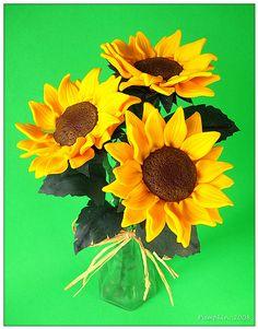Polymer clay sunflowers