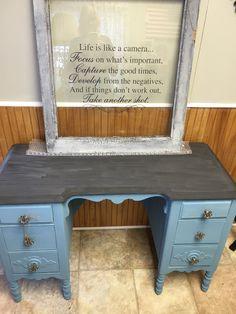 Vintage desk, antique desk, shabby chic desk, shabby chic make up table, lingerie storage, milk pain desk by MaggieBleus on Etsy