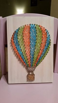 Striped Hot Air Balloon String Art by Strung from the Heart