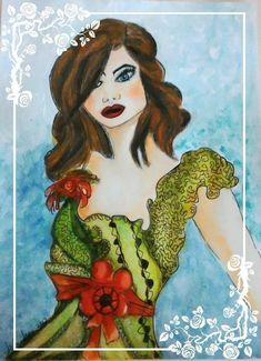 Digital Print Lady In Green Dress Figurative Women Art Deco Vintage lady Colorful Prints Of Original Fashion Illustration Etsy UK Shop Arty All Family, New Crafts, Love Sewing, Etsy Uk, Figurative Art, Handmade Crafts, Lovers Art, Female Art