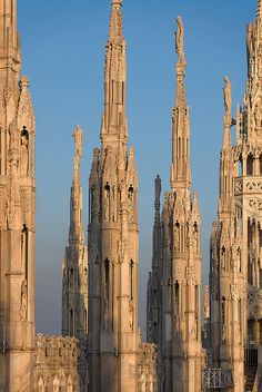 Spires of The Duomo, Milan, Italy (****See a full view of this cathedral above. Places Around The World, The Places Youll Go, Places To See, Around The Worlds, Gothic Architecture, Beautiful Architecture, Beautiful Buildings, Beautiful World, Beautiful Places