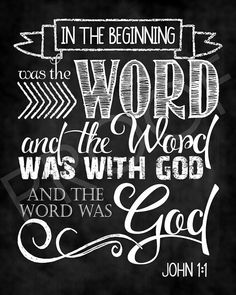 Scripture Art John 1:1 Chalkboard Style by ToSuchAsTheseDesigns