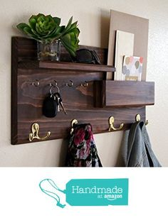 Entryway Coat Rack Mail Storage and Key Hooks from Midnight Woodworks http://smile.amazon.com/dp/B017NPSLSW/ref=hnd_sw_r_pi_dp_Elq2wb1WZ965R #handmadeatamazon