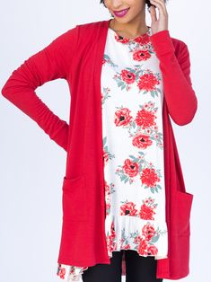 Agnes & Dora - Essential Cardigan Red Solid Outfit www.shopmyprettythings.com #fashion #red #style #floral #outfit #ootd #shopping #pretty #love