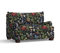 PB Comfort English Arm Upholstered Twin Armchair Sleeper, Knife Edge Polyester Wrapped Cushions, Poppy Botanical Black