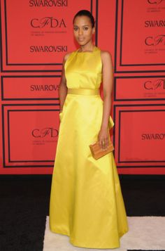 3433fb4be4c Kerry Washington at  CFDA  Awards Jason Wu, Celebrity Style, Yellow Satin  Dress