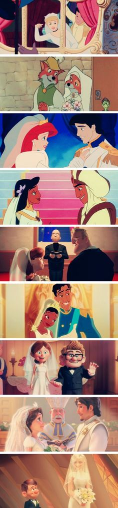 Disney weddings (Cinderella, Robin Hood, The Little Mermaid, The Incredibles, Up, Tangled Ever After, and Wreck It Ralph)